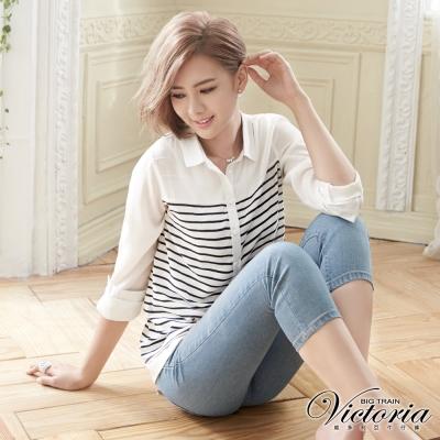 Victoria 中高腰天絲棉淺色七分褲-女-淺藍