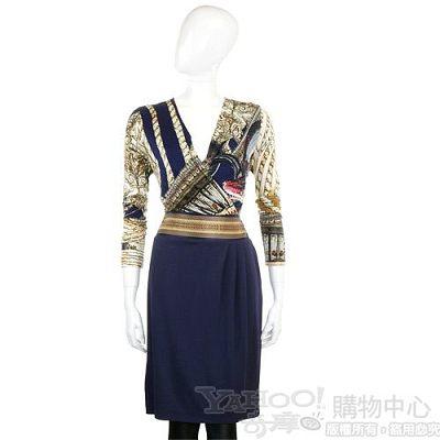 CLASS roberto cavalli 藍色緞質彩繪長袖V領洋裝