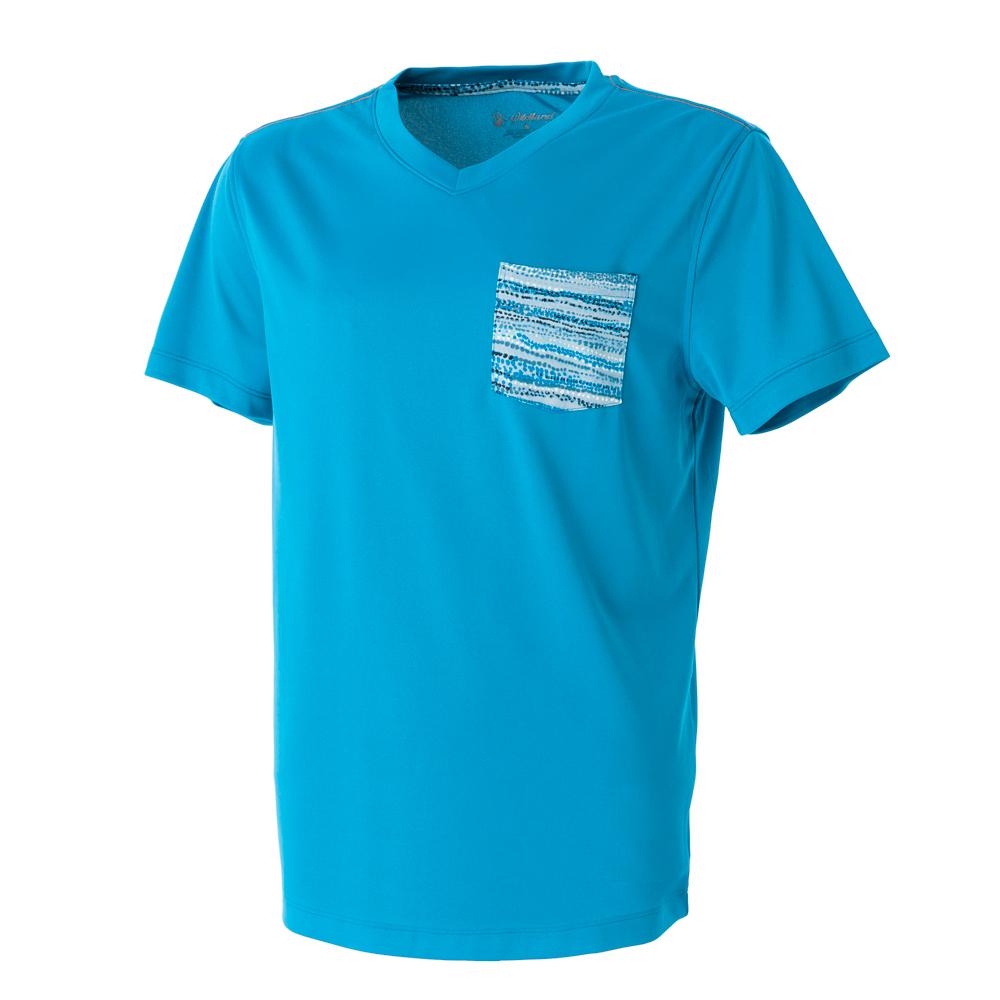 【Wildland 荒野】男V領咖啡紗抗菌抗UV上衣天藍