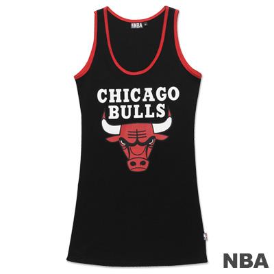 NBA-芝加哥公牛隊合身長版背心-黑-女