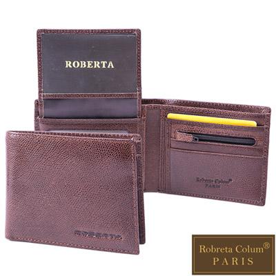 Roberta Colum - 復刻經典皮革魅力真皮系可拆式4卡<b>3</b>照短夾-咖啡