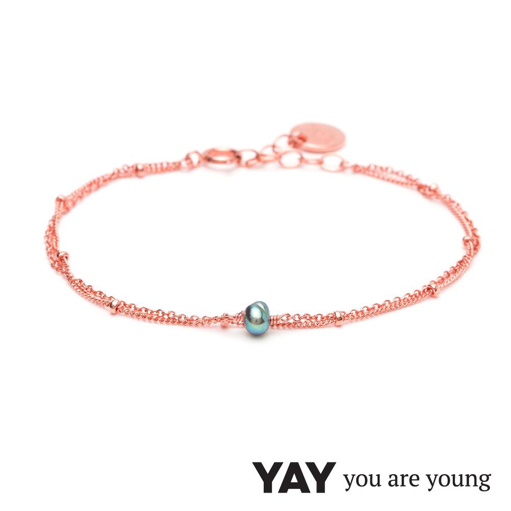 YAY You Are Young 法國品牌 Stella 灰珍珠手鍊 玫瑰金