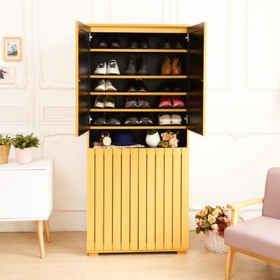 澄境 典雅大容量雙門直條紋收納鞋櫃(80x38x180cm)-DIY