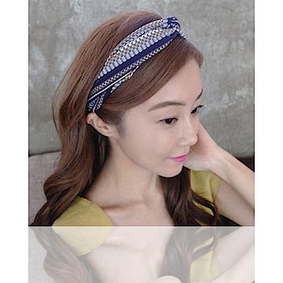 梨花HaNA 韓國小民族女孩刺繡花紋緹花髮帶藍色
