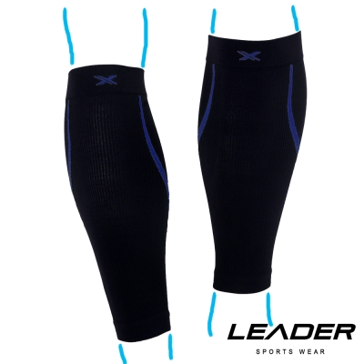 LEADER 進化版 運動專用V型壓縮小腿套 護腿套 二只入 黑底藍線