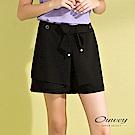 OUWEY歐薇 珍珠綁帶層次造型短褲(黑)