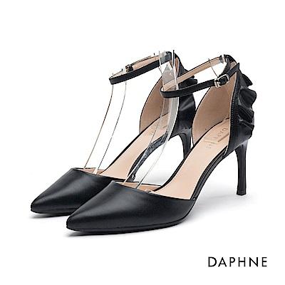 達芙妮DAPHNE 高跟鞋-花邊繞踝繫帶細高跟鞋-黑