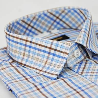 金‧安德森 棕藍格紋窄版短袖襯衫