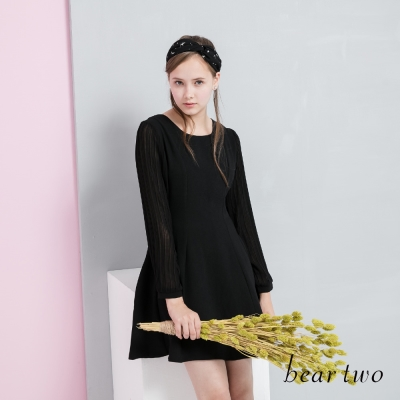 beartwo 網路獨家優雅婚禮心機雪紡拼接洋裝(二色)