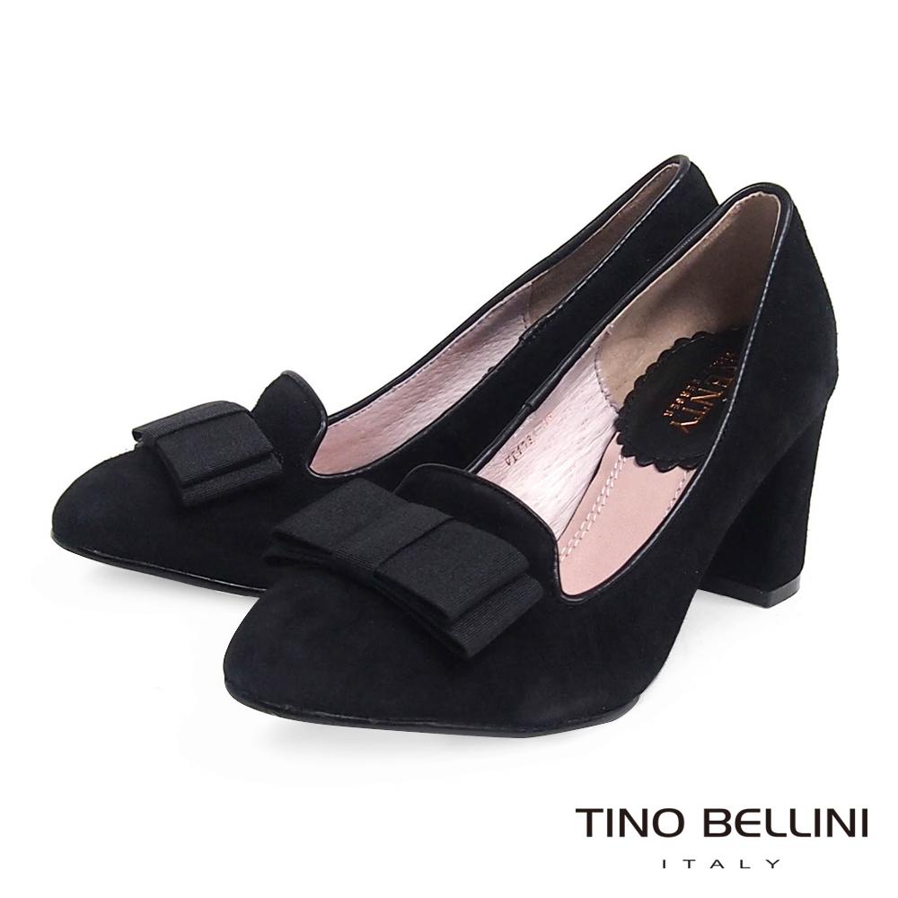 Tino Bellini 優雅情懷緞帶蝴蝶結樂福粗跟鞋_黑