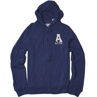 A&F Abercrombie & Fitch LOGO貼布刷長袖帽T外套-藍