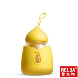 香港RELEA物生物 小可耐熱玻璃保溫杯附防燙杯套350ml(布丁黃)