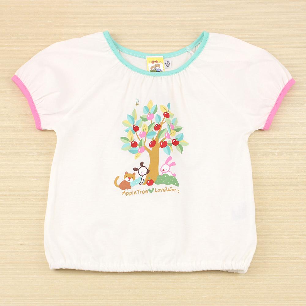 愛的世界 MYBABY 純棉圓領彩色公主袖T恤/2~4歲