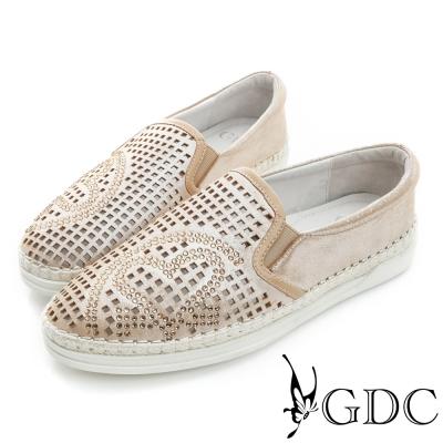 GDC-舒適方形沖孔愛心水鑽真皮懶人休閒鞋-金色