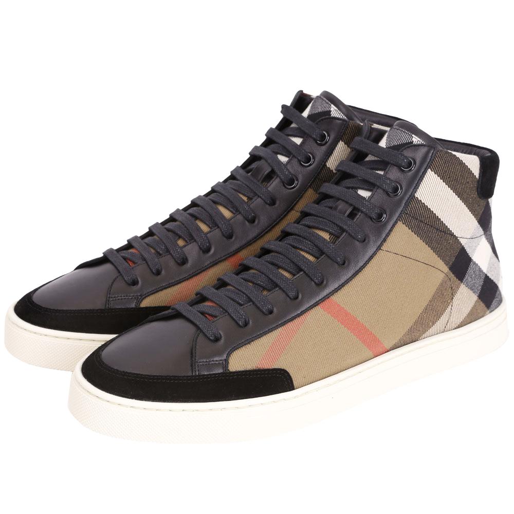 BURBERRY House 格紋拼皮革高筒運動鞋(男鞋/黑色)