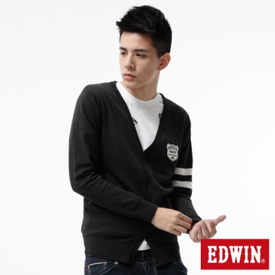 EDWIN-針織衫-學院風開襟線衫-男-灰色