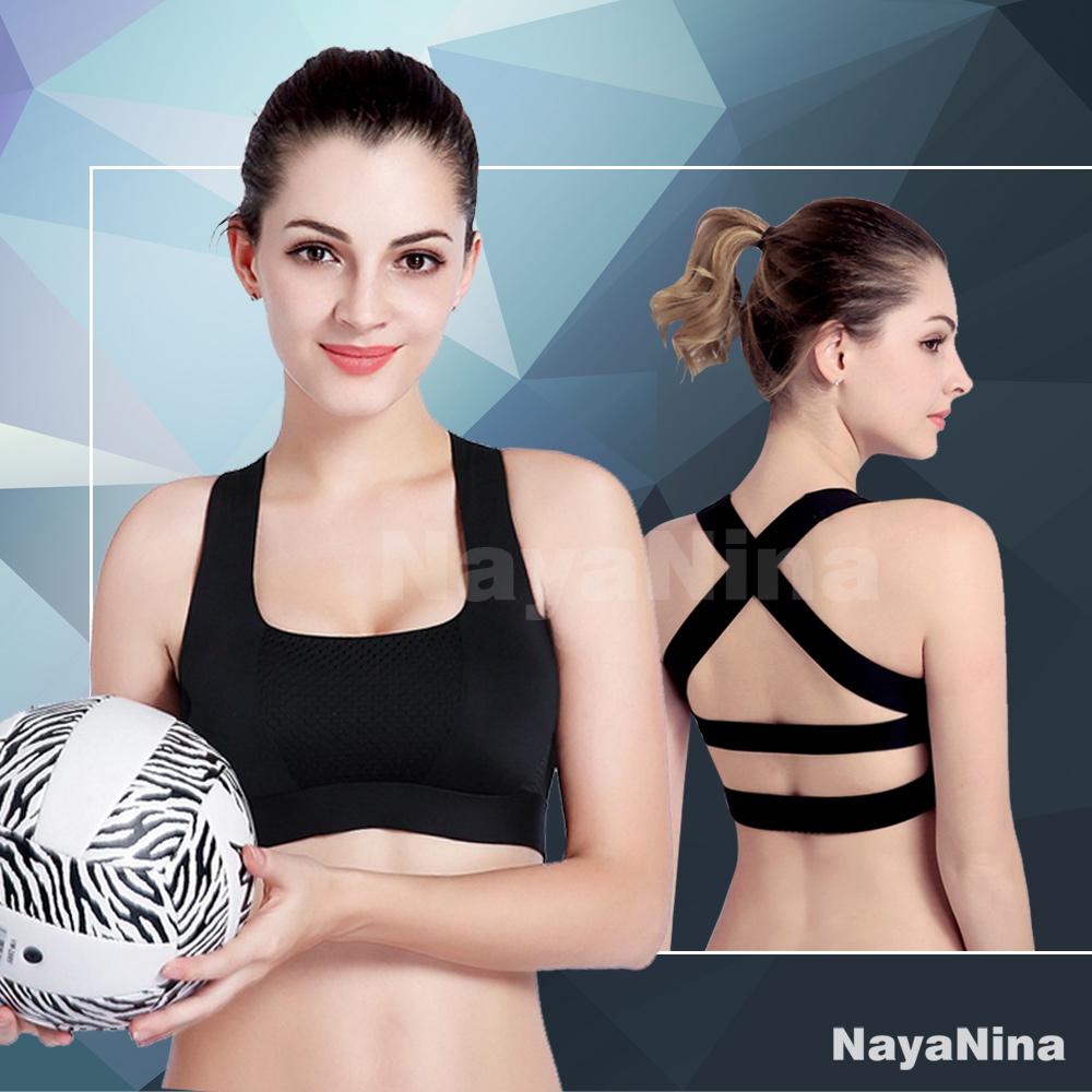 運動內衣 透氣網眼交叉美背無鋼圈運動內衣S~L(黑) Naya Nina