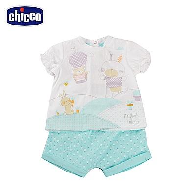 chicco-粉彩-短袖套裝-藍(6-18個月)