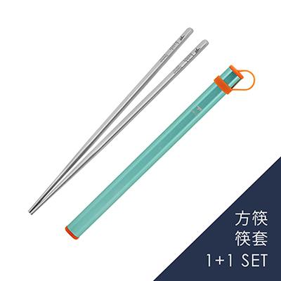 【組合優惠】Keith純鈦 Ti5622方筷+筷套組