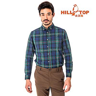 【hilltop山頂鳥】男款吸濕排汗抗UV長襯衫S05M64-綠格子