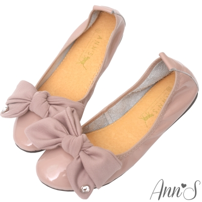 Ann'S甜美泡泡糖-大蝴蝶結水鑽小羊漆皮平底娃娃鞋-粉