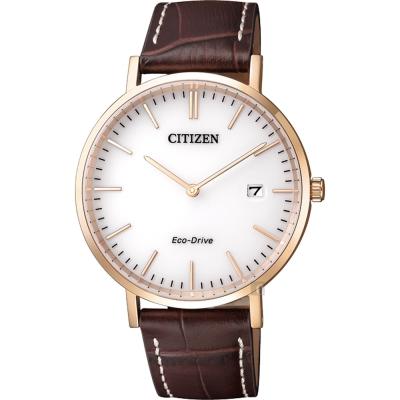 CITIZEN星辰 Eco-Drive 光動能簡約時尚腕錶-白x玫瑰金框/38mm