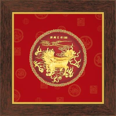 開運陶源  圓形系列【麒麟呈祥】立體金箔畫