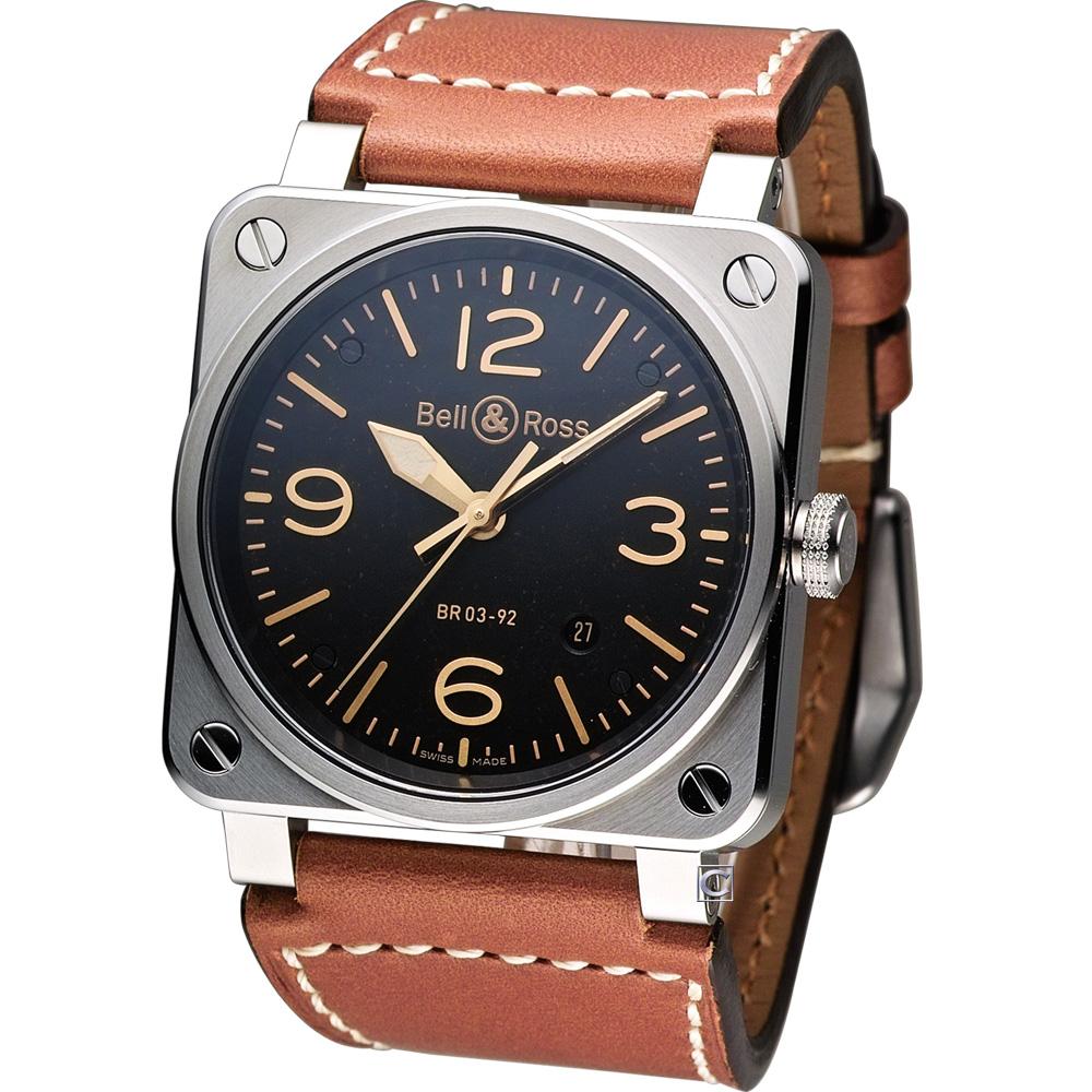 Bell & Ross 機艙儀表板概念機械錶-咖啡色皮/42mm