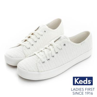 Keds KICKSTART金屬紗線綁帶休閒鞋-奶油白