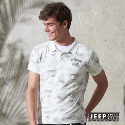 JEEP 陽光型男時尚迷彩短袖POLO衫 白色 (合身版)