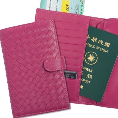 ANNA-DOLLY-編織羊皮萬用夾-Leather系列-甜桃紅