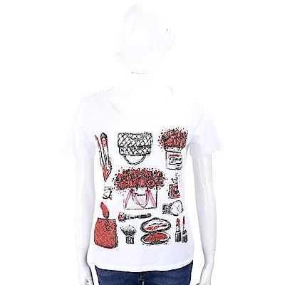 ANNA RACHELE 鑽貼素描圖騰白色棉質T恤
