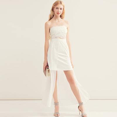 AIR SPACE 蕾絲平口上衣短裙拼接長裙擺洋裝(白)