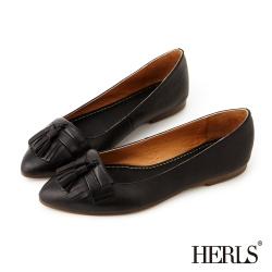 HERLS-全真皮復古流蘇樂福鞋-黑色