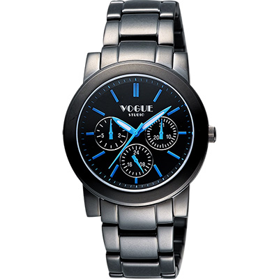VOGUE 嶄新系列日曆時尚女錶-IP黑x藍時標/34mm