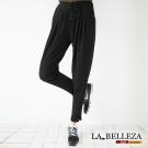 中大尺碼 黑色素面腰打摺抽繩哈倫褲-La Belleza