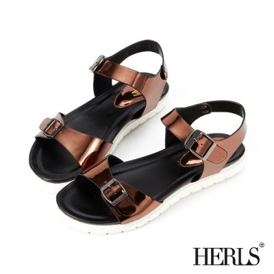 HERLS 街頭時尚 金屬飾釦質感涼鞋-古銅