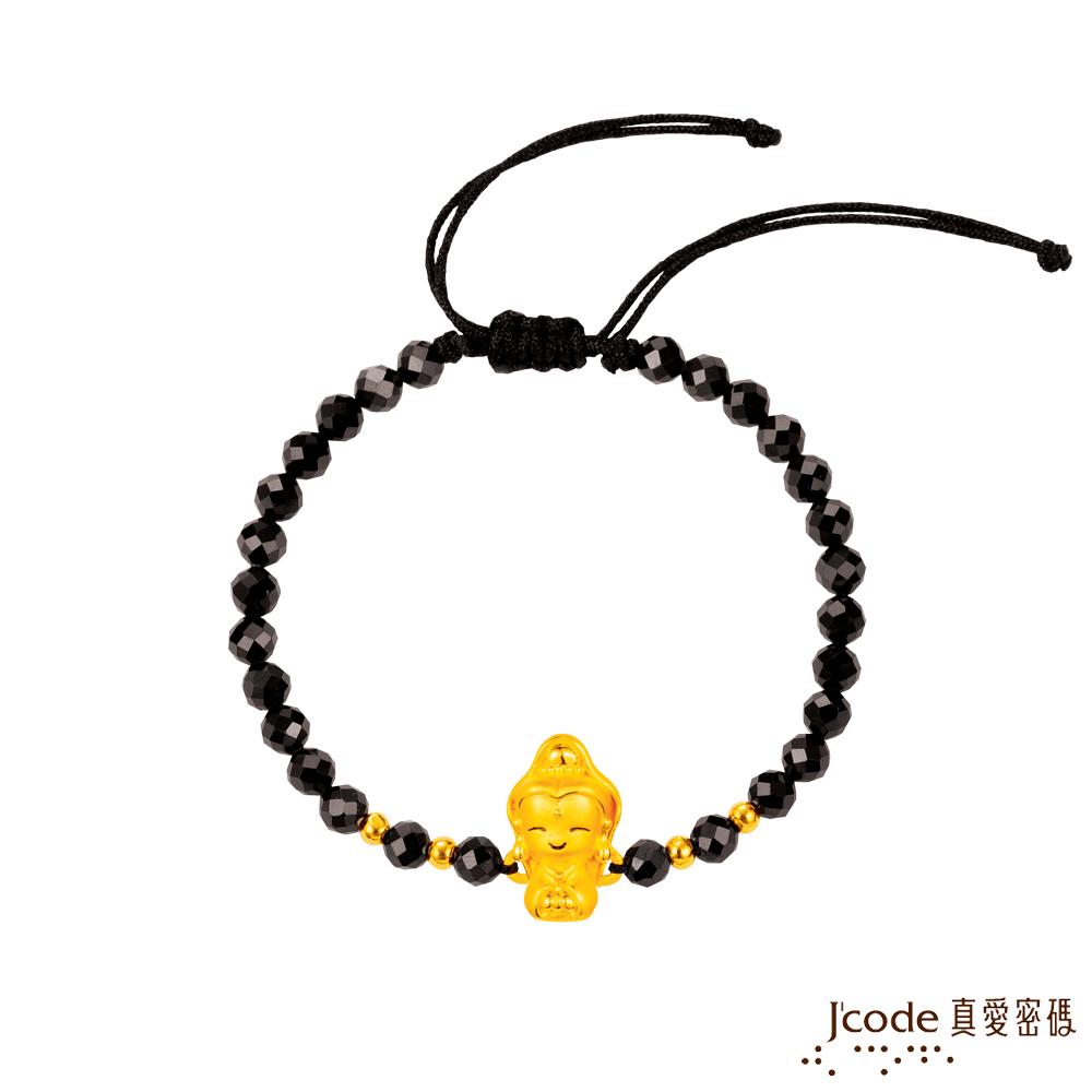 J'code真愛密碼 小萌佛-觀音黃金/尖晶石手鍊-立體硬金款