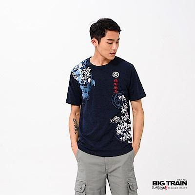 BIG TRAIN 織田武將魂圓領短袖-男-深藍