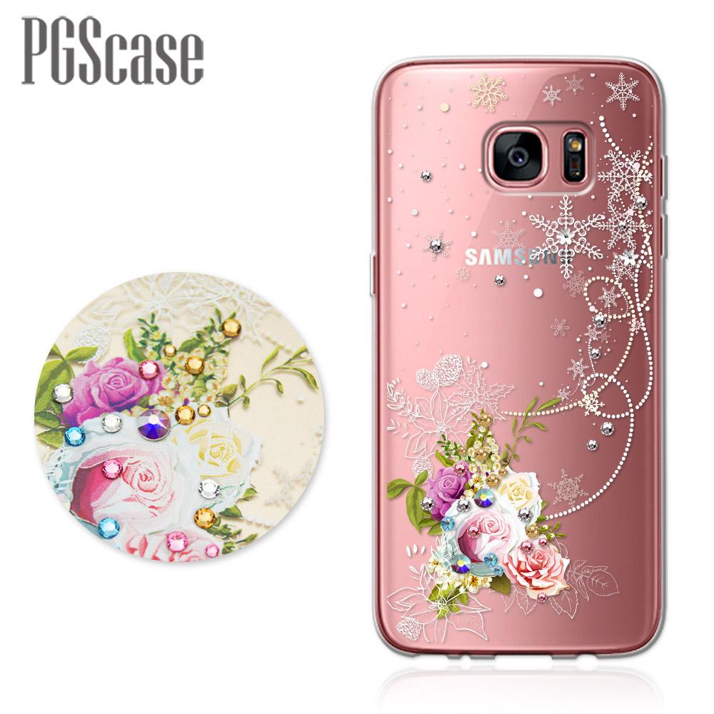 PGS Samsung Galaxy S7 edge 奧地利彩鑽防摔手機殼-緋雪薔薇