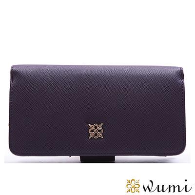 WuMi-無米-美洛蒂十字紋實用-型長夾-蘿蘭紫-快
