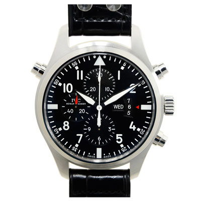 IWC 萬國錶 飛行員追針計時腕錶(IW377801)-黑面/46mm