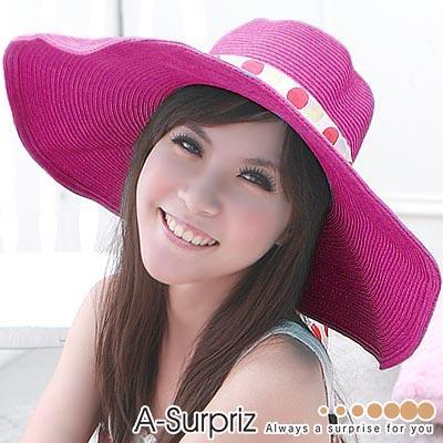 A-Surpriz-浪漫美人特大遮陽草帽-桃