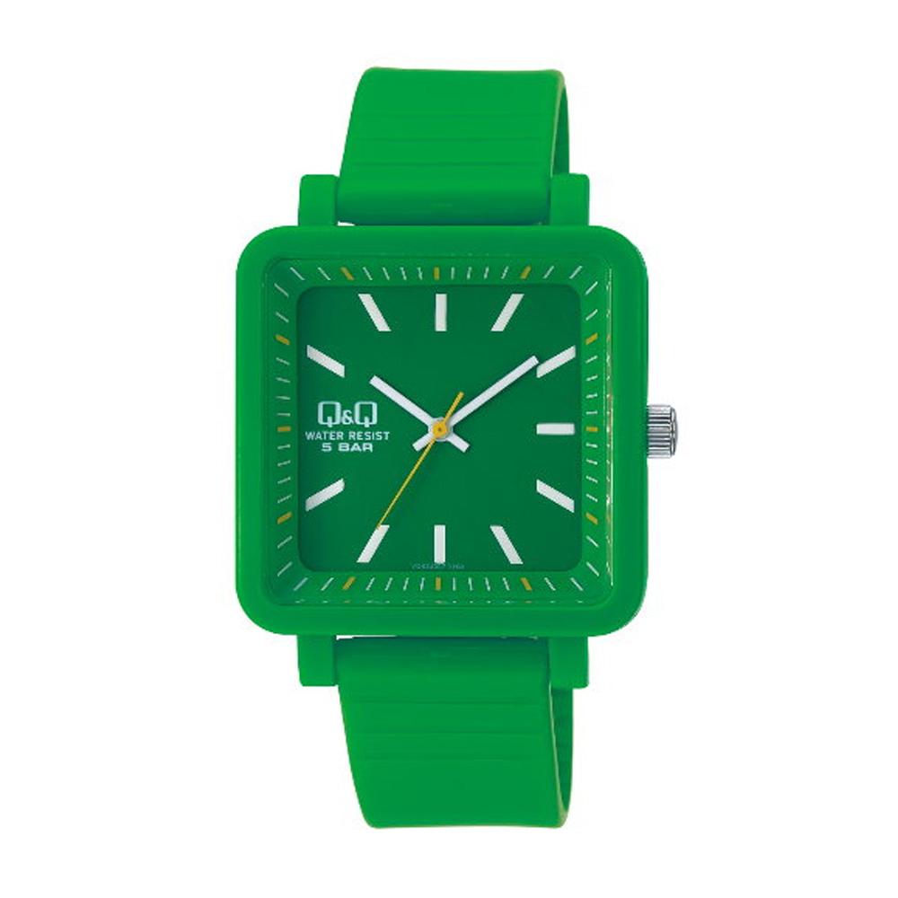 Q&Q 日系個性方正混搭泡泡糖潮流錶-綠/38mm
