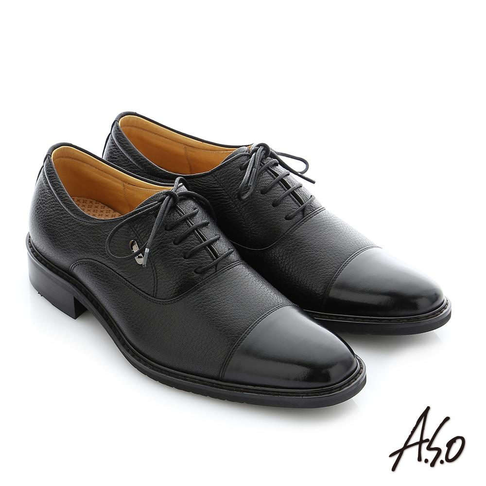 A.S.O 勁步雙核心 職場通勤真皮綁帶奈米紳士鞋 黑色