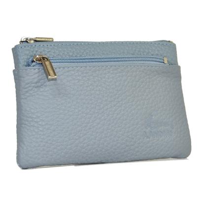 VIVIFY進口牛皮分層零錢包-灰藍色