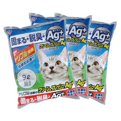 日本IRIS AG+奈米銀強效抗菌貓砂 (KFAG-90) 9L X 3包