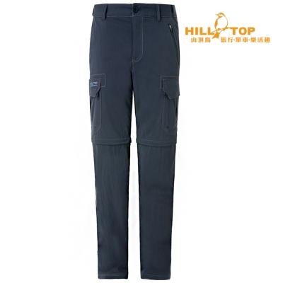 【hilltop山頂鳥】男款超潑水抗UV彈性長褲S08M22深灰藍