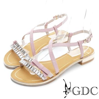 GDC-交叉環繞水鑽蝴蝶結羊皮平底涼鞋-粉色