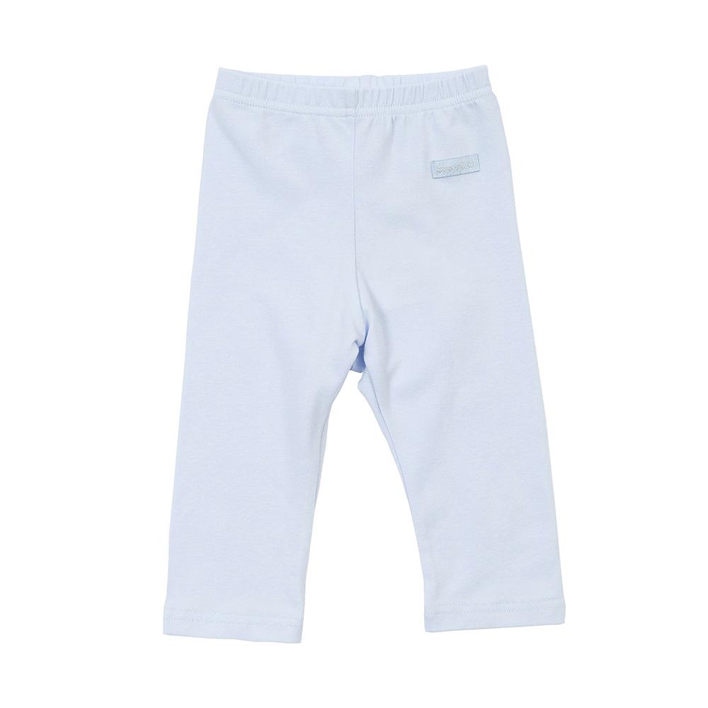 愛的世界 北極熊彈性鬆緊帶緊身長褲-藍/3個月~1歲